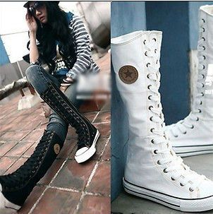 Womens Ladies Girls Classic Punk Lace up knee High Canvas Boots