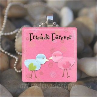 FOREVER FRIENDSHIP LOVE BEST FRIEND GLASS PENDANT NECKLACE KEYRING