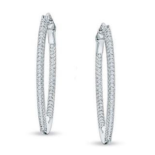 CT. T.W. Diamond Medium Inside Out Hoop Earrings in Sterling
