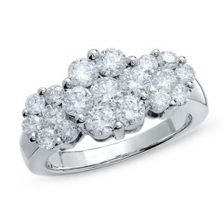 CTW. Diamond Three Flower Ring in 14K White Gold   Rings   Zales
