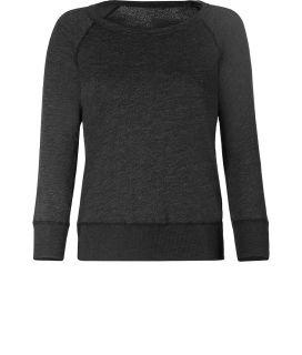 James Perse Black Melange Vintage Sweatshirt  Damen  Sportswear