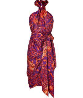 Salvatore Ferragamo Orange and Violet Animal Print Wrap Dress