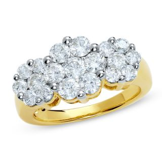 CTW. Diamond Three Stone Flower Ring in 14K Gold   Rings   Zales