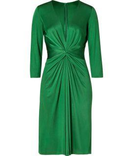 Issa Green 3/4 Sleeve Gathered Silk Jersey Dress  Damen  Kleider