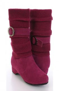 Fuchsia Faux Suede Strapped Slouchy Knit Sleeve Boots @ Amiclubwear