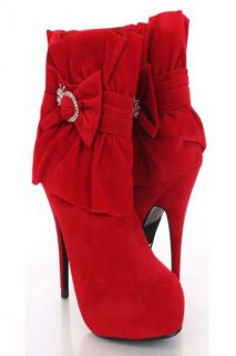 Red Faux Suede Rhinestone Bow Pleated Ankle Boots @ Amiclubwear Boots