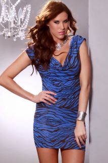 Royal Blue Brown Zebra Print Draped Neck Strappy Back Sexy Mini Dress