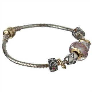 Pandora Pure Gold/Sterling Silver Love Heart Charm Bracelet