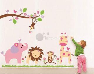 large Jungle Animal zoo Wall Sticker Decor Decal Nursery Kids Baby Art