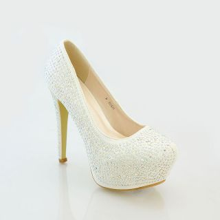 Ladies High Heel Diamante Crystal Platform Bridal Wedding Prom Party