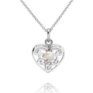 Bijou Bijou Silver/Pearl Filigree Heart Pendant
