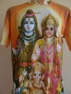 Shiva family Shiva Parvati Ganesh Men T Shirt OM Hindu India XL K03