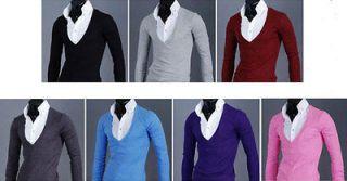 New Korean Mens Casual Slim V neck Long Sleeve T shirt Tee 7 color 4