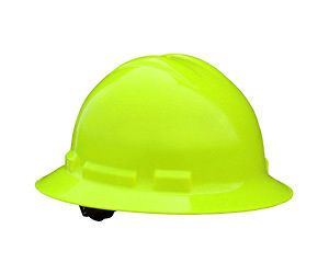 Hard Hat Quartz Full Brim 6 Point Ratchet Suspension Green Hi Vis