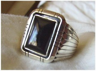 sterling silver Navajo mens black onyx ring size 11, 12, or 13