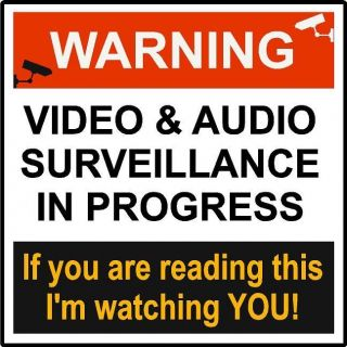 WARNING VIDEO & AUDIO SURVEILLANCE SIGN Peel & stick decal FOR