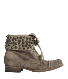 Suede Stud Military Cuff Boot, Women, Boots & Shoes, AllSaints