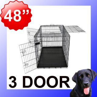 48 Portable Folding Dog Pet Crate Cage Kennel 3 Door ABS Tray Divider