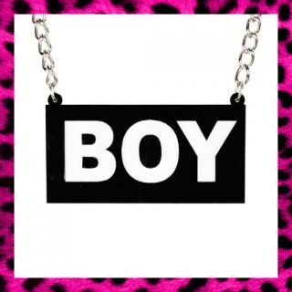 BOY NECKLACE BOY LONDON 80s RETRO GRIMES RIHANNA LADY GAGA BLACK WHITE