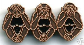 Three Wise Monkeys Pin See Hear Speak No Evil Monkeys