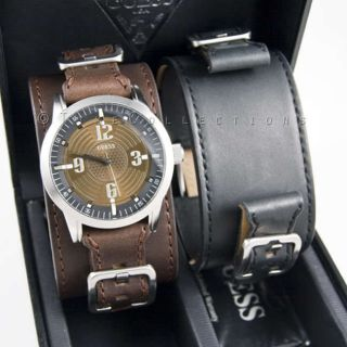 NEW GUESS MENS WATCH BROWN BLACK STRAP BOX SET U95045G1