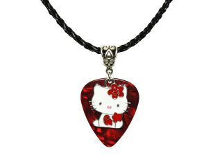 GUITAR PICK Enamel HELLO KITTY Charm Bow Pendant & Black Necklace