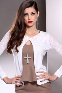 White Button Up Lace Mesh Long Sleeves Cardigan Sweater @ Amiclubwear