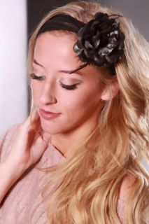 Black Shimmer Fabric Petal Feathered Flower Hair Clip @ Amiclubwear