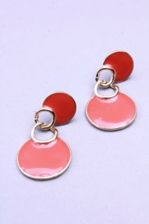 Orange Gold High Polish Metal Studded Dangle Earrings @ Amiclubwear
