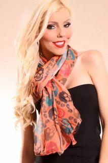 ORANGE MULTI SKULL FACE PRINTED SHEER SCARF @ Amiclubwear scarf Online