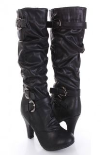 Home / Black Faux Leather Slouchy Buckle Strapped Mid Calf Boots