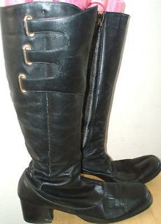 Vintage Black Leather GoGo boots womens 9 M square toe