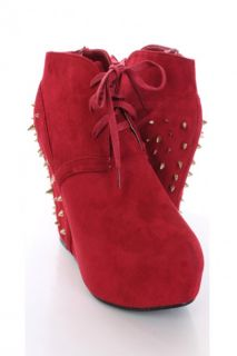 Red Faux Suede Spike Studded Ankle Bootie Wedges @ Amiclubwear Wedges