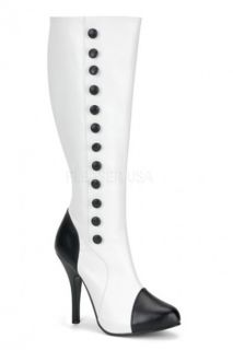 White Black Faux Leather Button Heel Boots @ Amiclubwear Boots Catalog