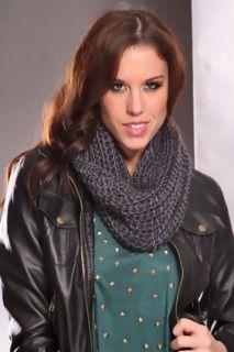 Dark Grey Soft Knitted Wide Neck Infinity Scarf @ Amiclubwear scarf