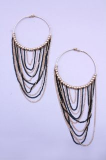 Home / Gold Black High Polish Metal Beaded Chained Hoop Earrings