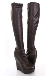 Brown Faux Leather Knee High Platform Wedge Boots @ Amiclubwear Boots