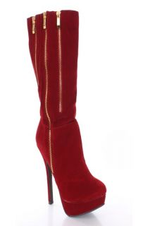 Red Faux Suede Side Zippers Mid Calf Platform Boots @ Amiclubwear
