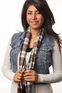 Black Red Plaid Polyester Scarf @ Amiclubwear scarf Online Store
