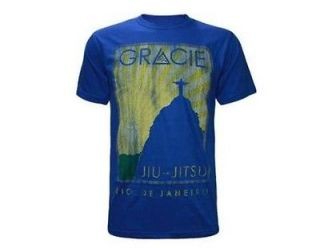 GRACIE ACADEMY JIU JITSU TURISTA II SHIRT BLUE SIZES S, M, L, XL, 2XL