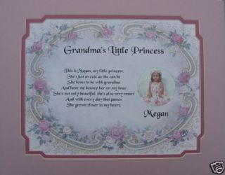 GRANDMAS LITTLE PRINCESS POEM BIRTHDAY, CHRISTMAS, MOTHERS DAY GIFT