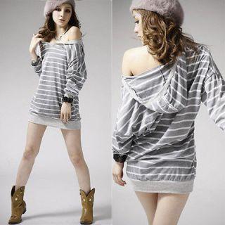 NEW Striped Women Batwing Sleeve Loose T shirt Top Stylish Korean Lady