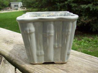 Vintage Sage Green USA Marked Bamboo Design Pottery Planter