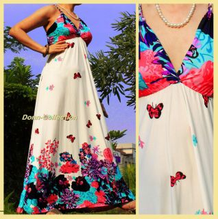 LONG SEXY MAXI DRESS PINK BLUE BUTTERFLY BEACH PLUS SKIRT MATERNITY