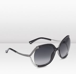 Jimmy Choo  Beatrix  Grey Metal and Leather Round Frame Sunglasses