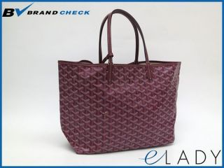 Auth GOYARD SAINT LOUIS PM TOTE BAG CANVAS/LEATHER DARK PURPLE