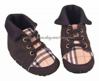 Baby Boy Black Plaid Soft Sole Walking Shoes Boots Size 0 6 6 12 12 18