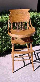 ANTIQUE OAK CAMEO BACK FANCY CHILDS HIGH CHAIR