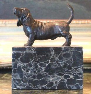 Basset Hound Hush Puppy Bookend Bronze Marble Statue Sculpture Breeder