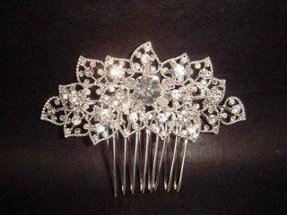 Bridal Rhinestone headpiece Flower Crystal Hair tiara Comb RB361